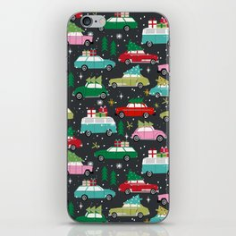 Christmas pattern print vintage cars holiday gifts presents christmas trees cute decor iPhone Skin