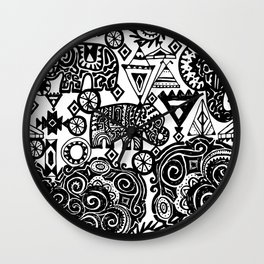 Beautiful boho pattern Indian Elephant with ornamental. Hand drawn ethnic tribal decorated Elephant Wall Clock