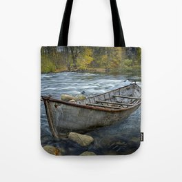 Canoe on the Thornapple River in Autumn Tote Bag
