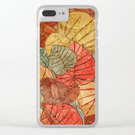 Leaves in Rosy Background 4 Clear iPhone Case