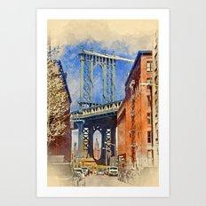 Manhattan Bridge Watercolor Art Print