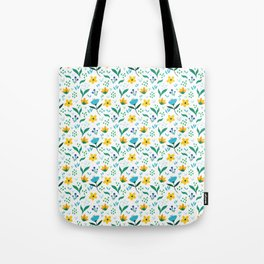 Summer flowers in yellow and blue in white background Tote Bag