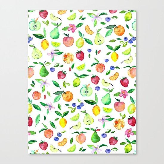 Fresh Fruit - a watercolor pattern Canvas Print