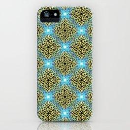 Chic Artistic Victorian Golden Trim Aqua Background  iPhone Case