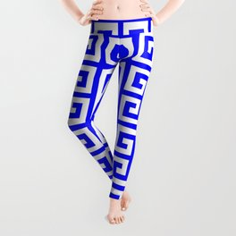 Greek Key (Blue & White Pattern) Leggings