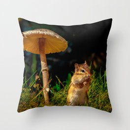 Under The Shady Mushroom Throw Pillow