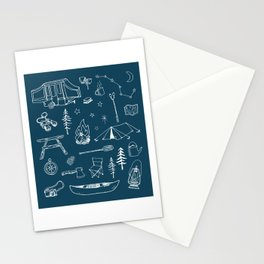 Simple Camping blue Stationery Cards