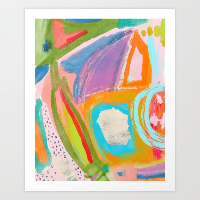 Shapes And Layers No 18 Abstract Painting Tropical Art Print By Sewzinski