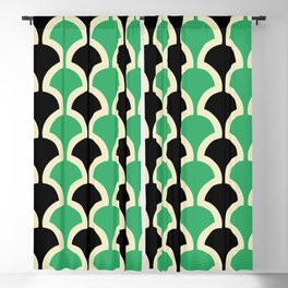 Classic Fan or Scallop Pattern 447 Black and Green Blackout Curtain