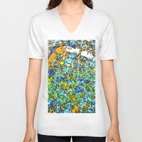 maps V-neck T-shirts featuring Funky Maps, LONDON by MehrFarbeimLeben