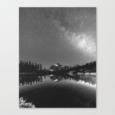 Summer Stars Black and White - Galaxy Mountain Reflection Canvas Print