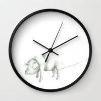 pig Wall Clocks featuring Pig by Alejandra Lara