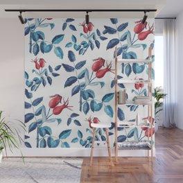 Watercolor Rose Hips Wall Mural