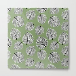 Abstract Monstera Leaf Pattern green Metal Print