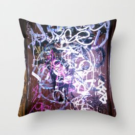 Bathroom Graffiti II Throw Pillow