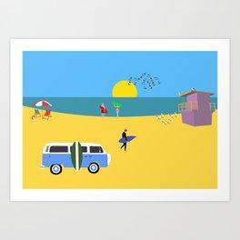 Surfer beach Art Print