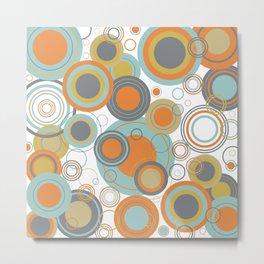 Retro Mid Century Modern Circles Geometric Bubbles Pattern Metal Print