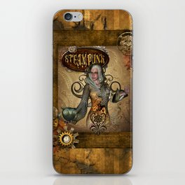 Awesome steampunk women with owl iPhone Skin