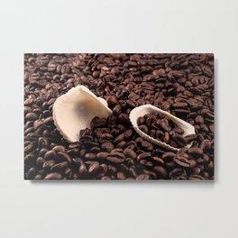 Mussels on coffee Metal Print