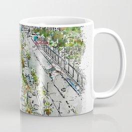 Aquarelle sketch art. Barcelona from above Coffee Mug