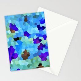 Design 146 Blue Brown Mosaic Stationery Cards