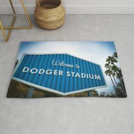 Welcome to Dodger Stadium | Los Angeles California Nostalgic Iconic Sign Art Print Tapestry Rug