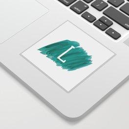 Letter L Teal Watercolor Sticker