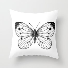 Cabbage butterfly Throw Pillow