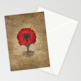 Vintage Tree of Life with Flag of Albania Stationery Cards