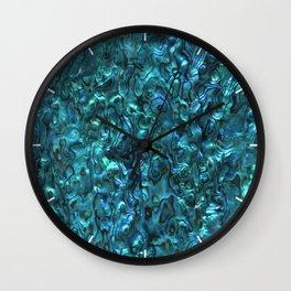 Abalone Shell   Paua Shell   Cyan Blue Tint Wall Clock