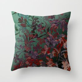 Watercolor Spring Flowers Cascading in Green Throw Pillow