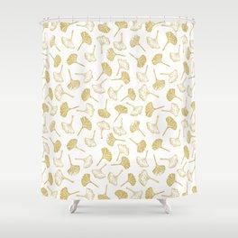 Ginkgo Biloba linocut pattern GLITTER GOLD Shower Curtain