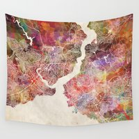 istanbul Wall Tapestries featuring Istanbul by MapMapMaps.Watercolors