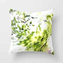 Abstract forest; intentionally blurred by twisting the camera Throw Pillow