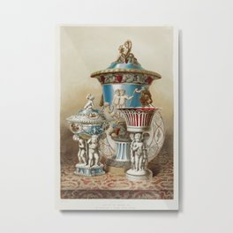 Group of vases & c. by Minton of Stoke upon Trent from the Industrial arts of the Nineteenth Century Metal Print