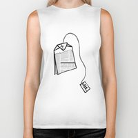 literary Biker Tanks featuring Literary Tea by Lizzi Davis