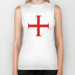 templar knights cross Biker Tank