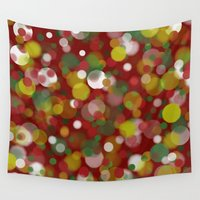 bokeh Wall Tapestries featuring Christmas Bokeh by LLL Creations