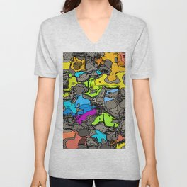 geometric shape texture abstract background in blue pink yellow orange Unisex V-Neck