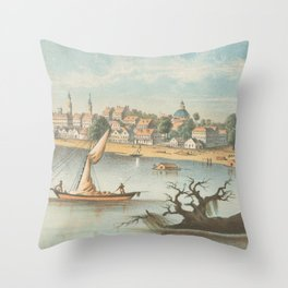Vintage Pictorial View of Baton Rouge LA (1854) Throw Pillow