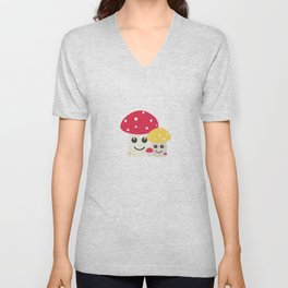 Cute colorful mushrooms Unisex V-Neck