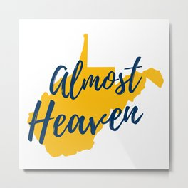 West Virginia Almost Heaven Map Gifts Metal Print
