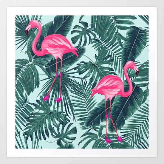 tropical pink flamingo Art Print