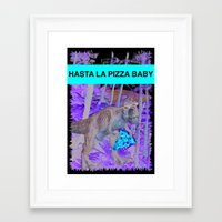 trex Framed Art Prints featuring PIZZA TREX!! by anthonykun