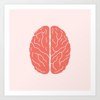 brain Art Prints featuring Brain by Yellow Chair Design