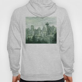 Seattle Skyline Watercolor Space Needle Emerald City 12th Man Art Hoody