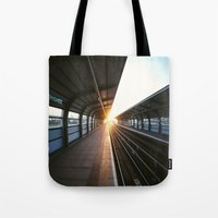 jewish Tote Bags featuring The light at the end of the tunnel by Brown Eyed Lady