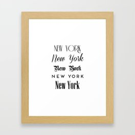New York City Quote Sign, Digital Download, Calligraphy Text Art, World City Typography Print Framed Art Print