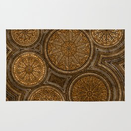 Dot Art Circles Abstract Browns and gold Rug