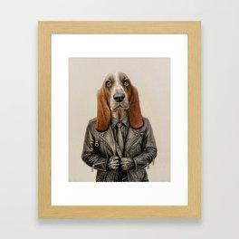 dog in leather Framed Art Print